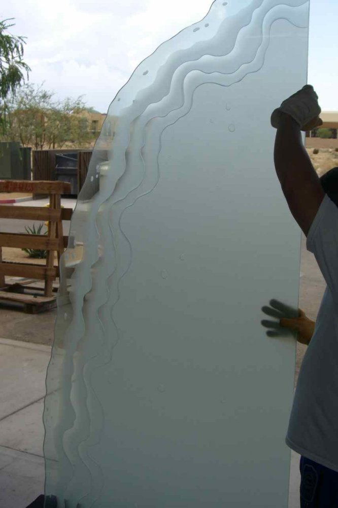 Shrlne Bch Wvs Gls Shr Panels Etched Glass Beach Style
