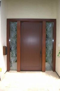 glass window frosted glass tropical design sidelites foliage monsterra leaves sans soucie