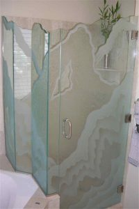 custom showers sandblasted glass rustic decor hills outdoors rugged retreat V sans soucie