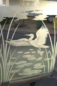 glass shower custom glass Asian style reeds pond dancing egret sans soucie