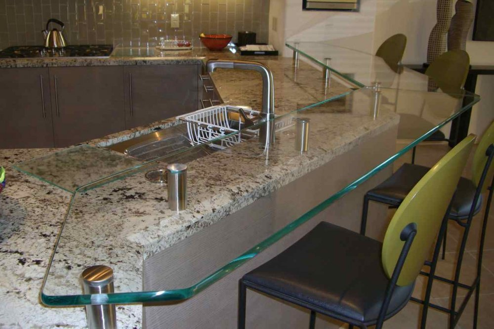 Kitchen Counter Tops Floating Clear Glass with Polished Edges by Sans Soucie
