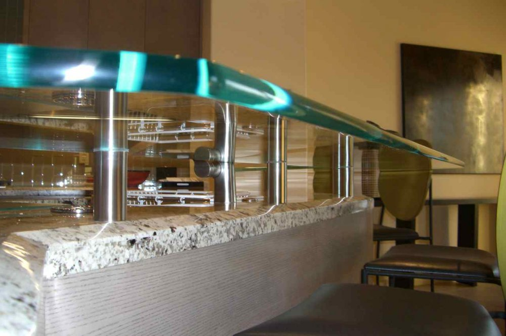 ... Sans Soucie Kitchen Counter Tops Floating Clear Glass With Polished  Edges Sans Soucie Kitchen Bar ...