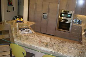 Sans Soucie Kitchen Bar Tops Floating Clear Glass with Edges Polished
