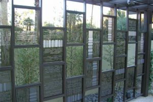 Sans Soucie Exterior Metal and Glass Partition with Glass Craving Modern Pattern