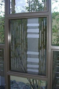 Sans Soucie Exterior Metal and Glass Partition with Craved Glass Modern Pattern