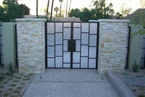 Front Gate with Euro Rain Etched Glass by Sans Soucie