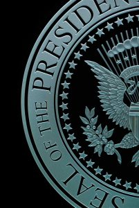 Sans Soucie U.S. Presidential Seal Etched Glass Signs