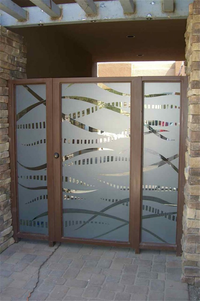 Glass Gate Carved and Etched Art Deco Modern front by Sans Soucie