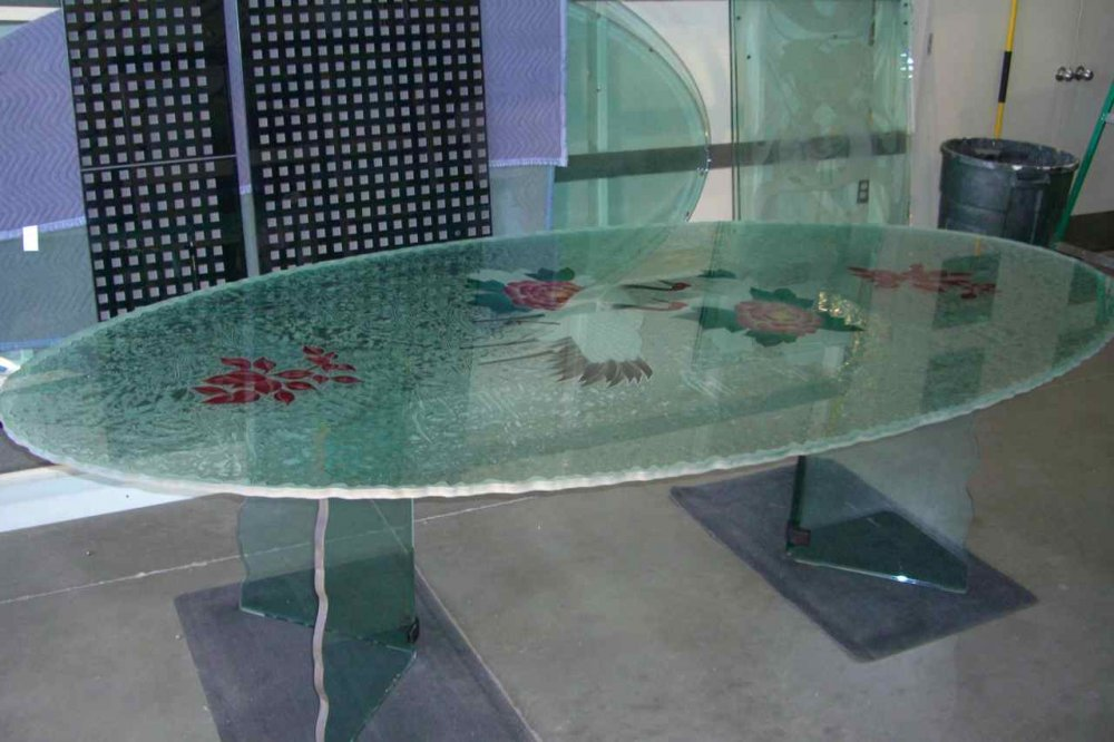 Glass Dining Tables with Etched Painted and Carved Glass Asian Wildlife crane by Sans Soucie