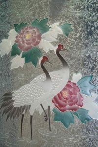 Glass Dining Tables with Carved Etched and Painted Glass Asian Wildlife crane by Sans Soucie