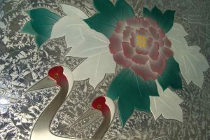 Glass Dining Tables with Etched, Carved and Painted Glass Asian Wildlife flowers by Sans Soucie