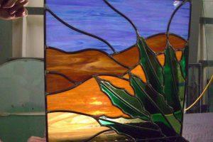 glass window stained glass rustic design foliage cactus desert vista sans soucie