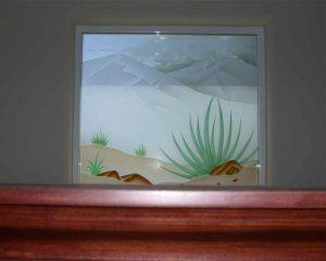 glass window glass etching rustic style plants hills desert colors ll sans soucie