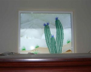 glass window frosted glass rustic style landscape plant life desert colors ll sans soucie