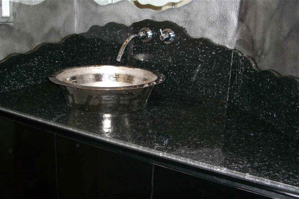 Bathroom Vanity Counter with Shattered Glass and Painted by Sans Soucie