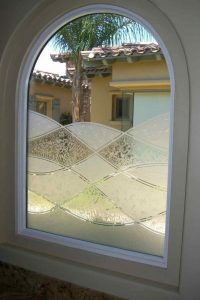 Window with Etched Glass Rustic Abstract by Sans Soucie