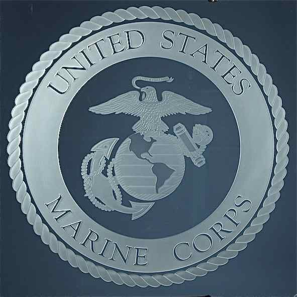 Glass Signs Carved and Etched U.S. Marine Corps Seal by Sans Soucie