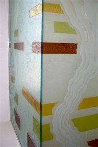 painted glass rustic design geometric bands triptic sans soucie