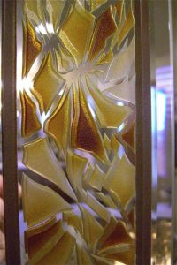 Craved and Painted Etched Custom Glass Mirrors Fragments Border by Sans Soucie