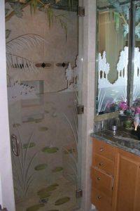 Sans Soucie Cabinet Bath Mirrors Painted Etched Carved lilies