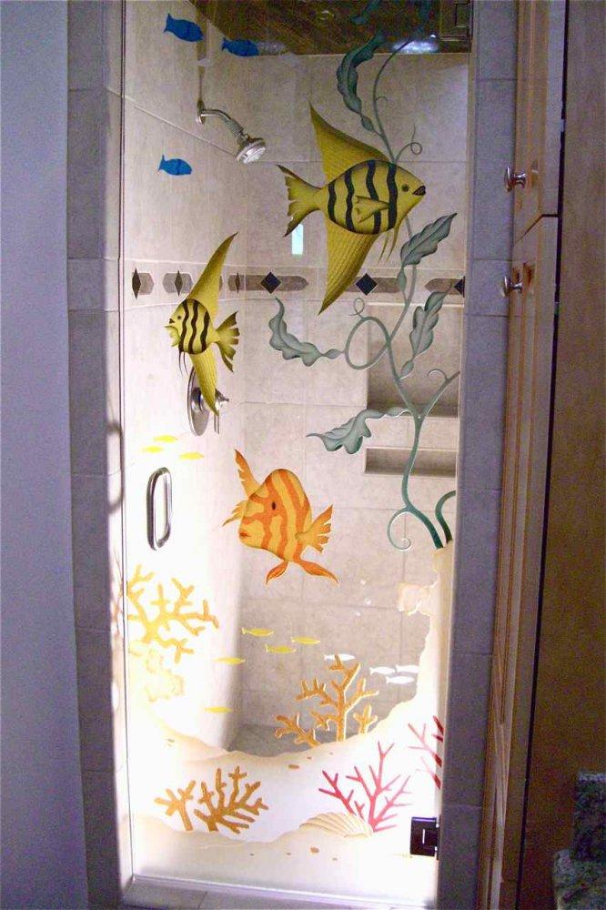 glass shower doors etched glass beach style fish coral aquarium 3d sans soucie