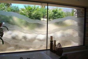 glass window custom glass rustic design hills landscape rugged waves sans soucie