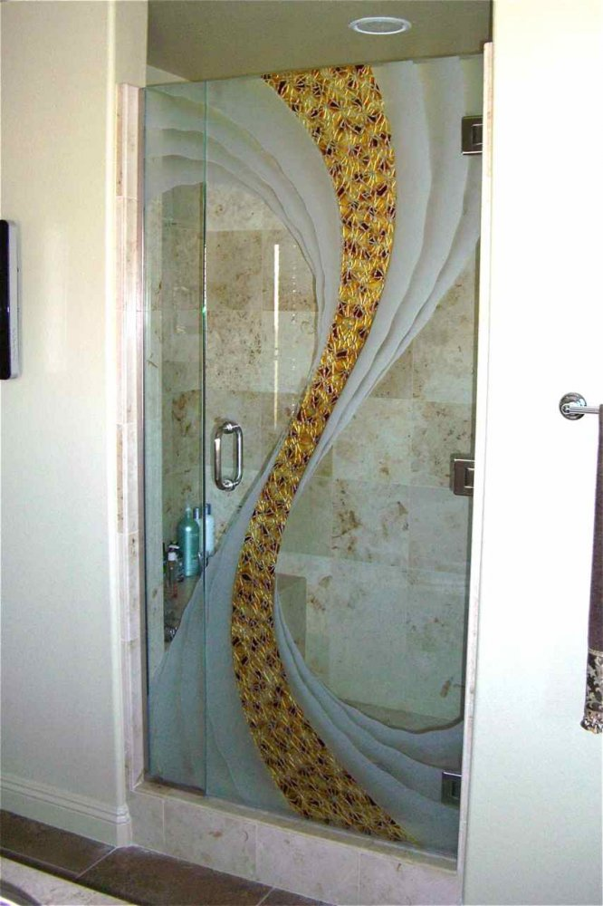 Cyclone custom showers etched glass rustic design for Toilet glass door design