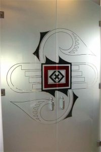 Frameless Glass Doors with Glass Carved and Painted by Sans Soucie