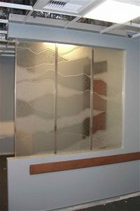 Sans Soucie Pony Wall with Etched Carved and Gluechipped Glass Rustic