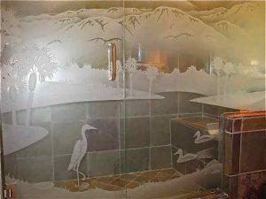 glass shower custom glass western decor landscape trees desert lakes sans soucie