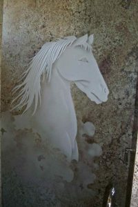 custom showers glass etching western design animals nature horse bust sans soucie