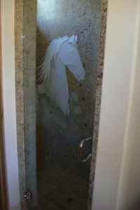 custom showers frosted glass western design mustang stallion horse bust sans soucie