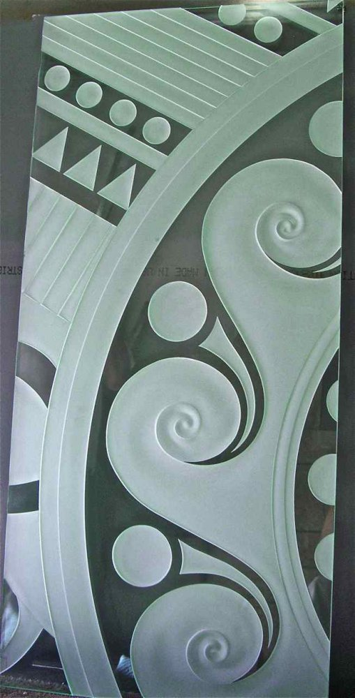 etched carved glass table geometric swirls triangles