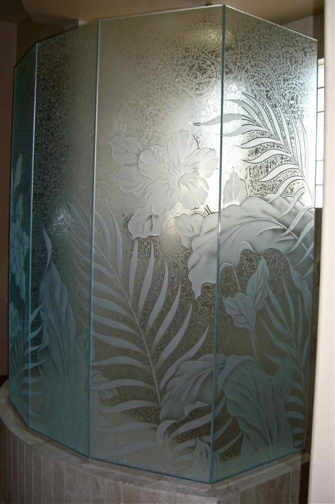 Hibiscus paradise glass shower etched glass tropical style - Bathroom doors with frosted glass ...