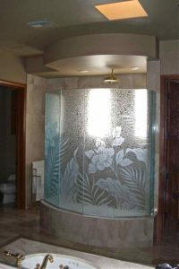 glass shower enclosures custom glass tropical style foliage flowery hibiscus paradise sans soucie