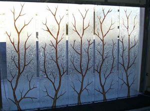 glass window custom glass rustic design trees foliage branch out sans soucie