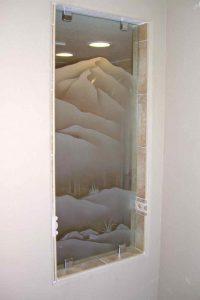 glass shower panels frosted glass western style landscape plants desert mountains ll sans soucie