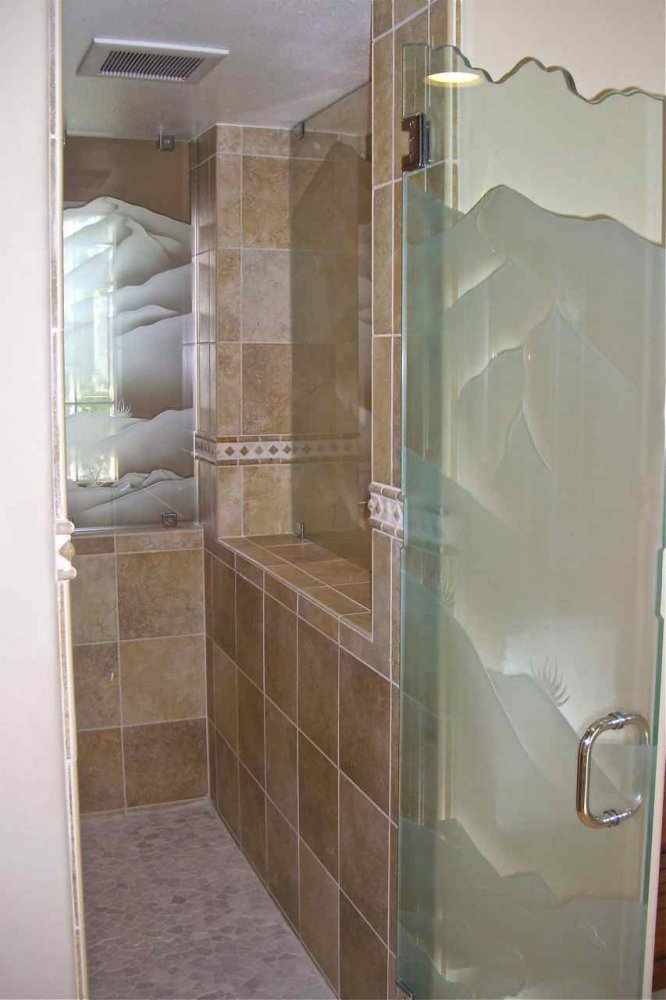 Drt Mtns ll Glass Shower Panels Etched Glass Western Style