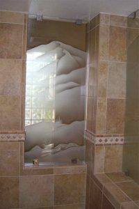 glass shower panels etching glass western style foliage outdoors desert mountains ll sans soucie