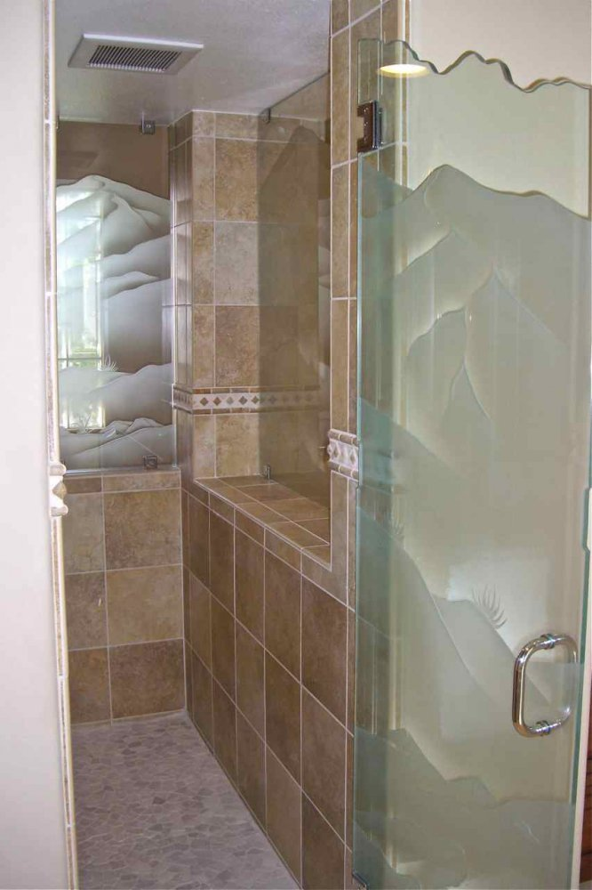 Mountans Glass Shower Doors Etched Glass Western