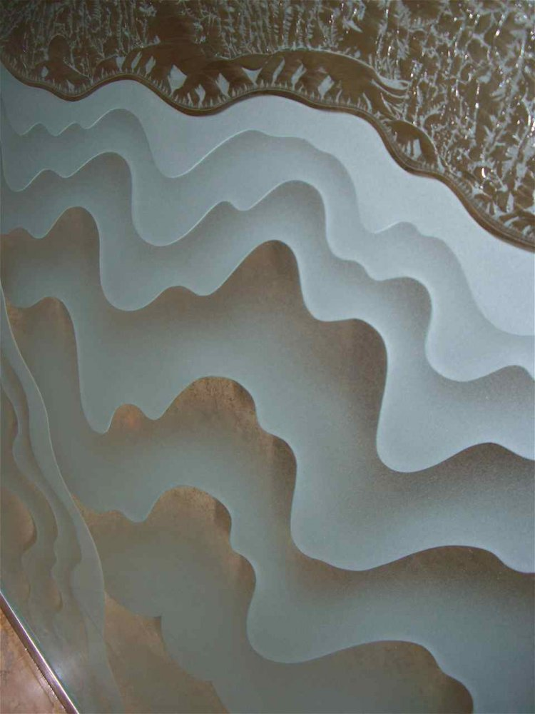 etched glass wavy lava drip pattern