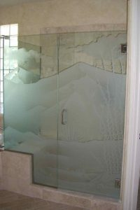 glass shower doors glass etching western decor plants hills desert ocotillo sans soucie