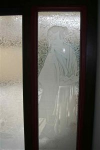 glass window etching glass Asian style geisha & the samurai sans soucie