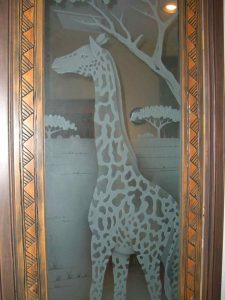 Door Inserts with Etched and Craved Glass African giraffe by Sans Soucie
