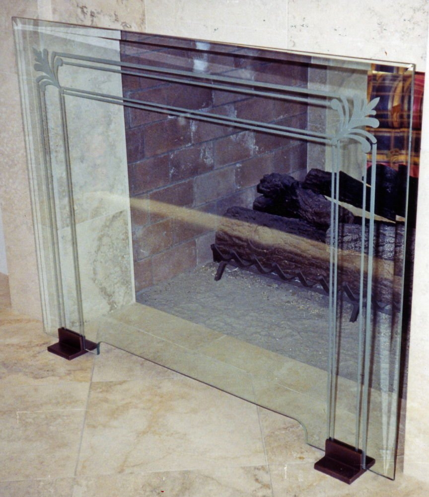 Glass Fireplace Screen Etched Glass Filigree