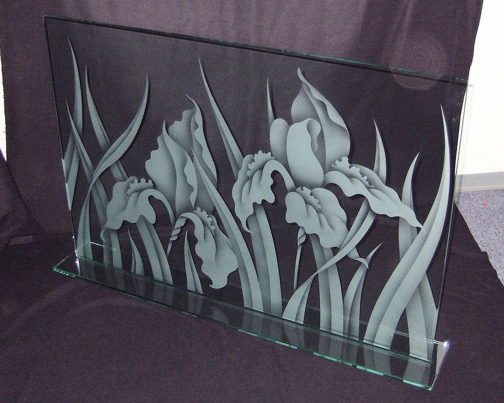 Etched Decorative Glass Iris Fireplace screen glass fireplace screen