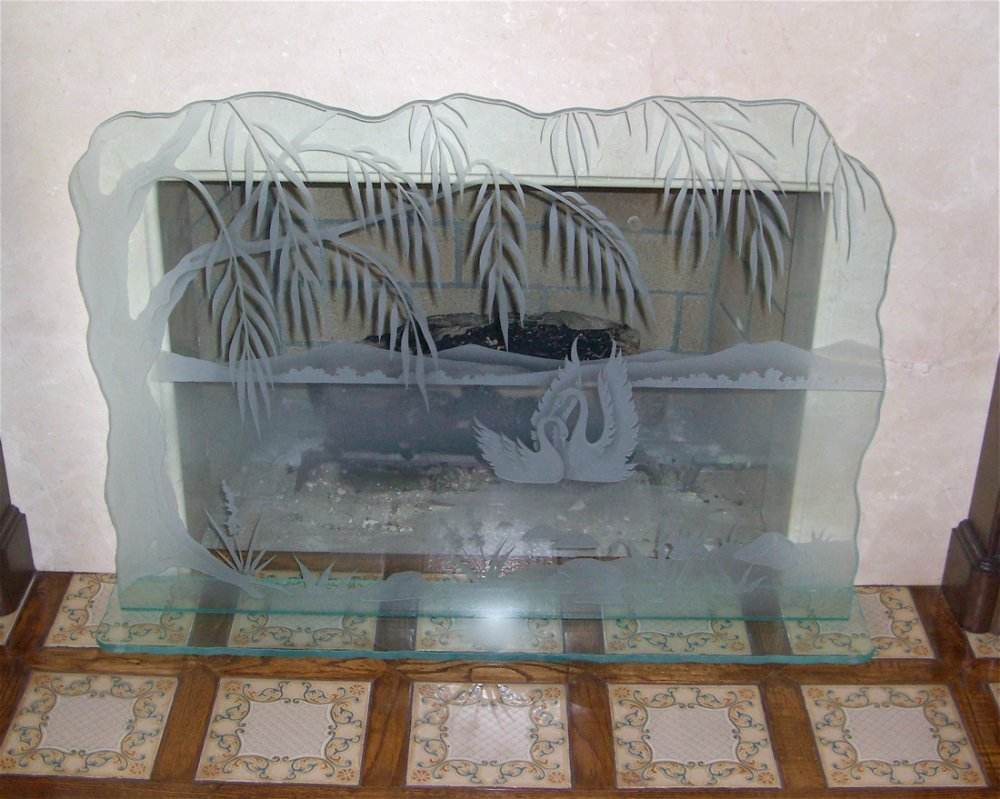 glass fireplace screen etched carved glass swan song fireplace