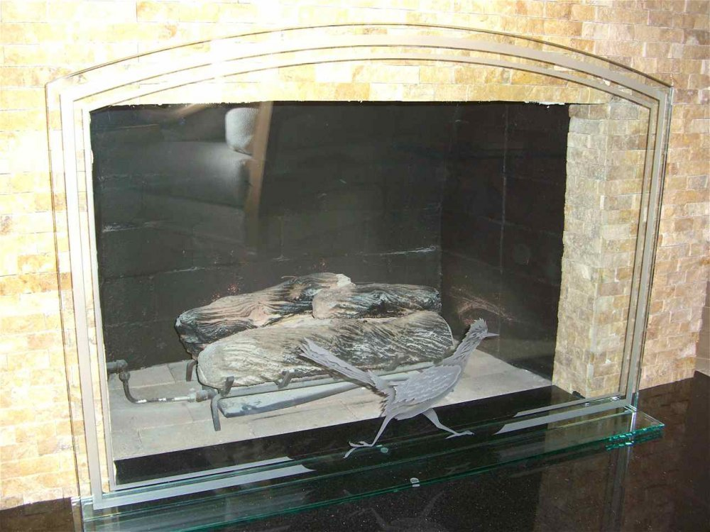 Fireplace Screen with Etched and Carved Glass roadrunner by Sans Soucie