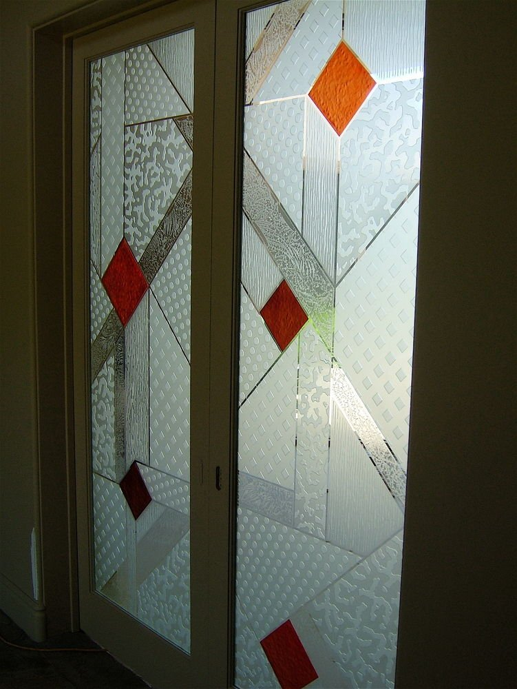 Colored Hand painted Glass Doors l Entry Door Carved Glass by Sans ...