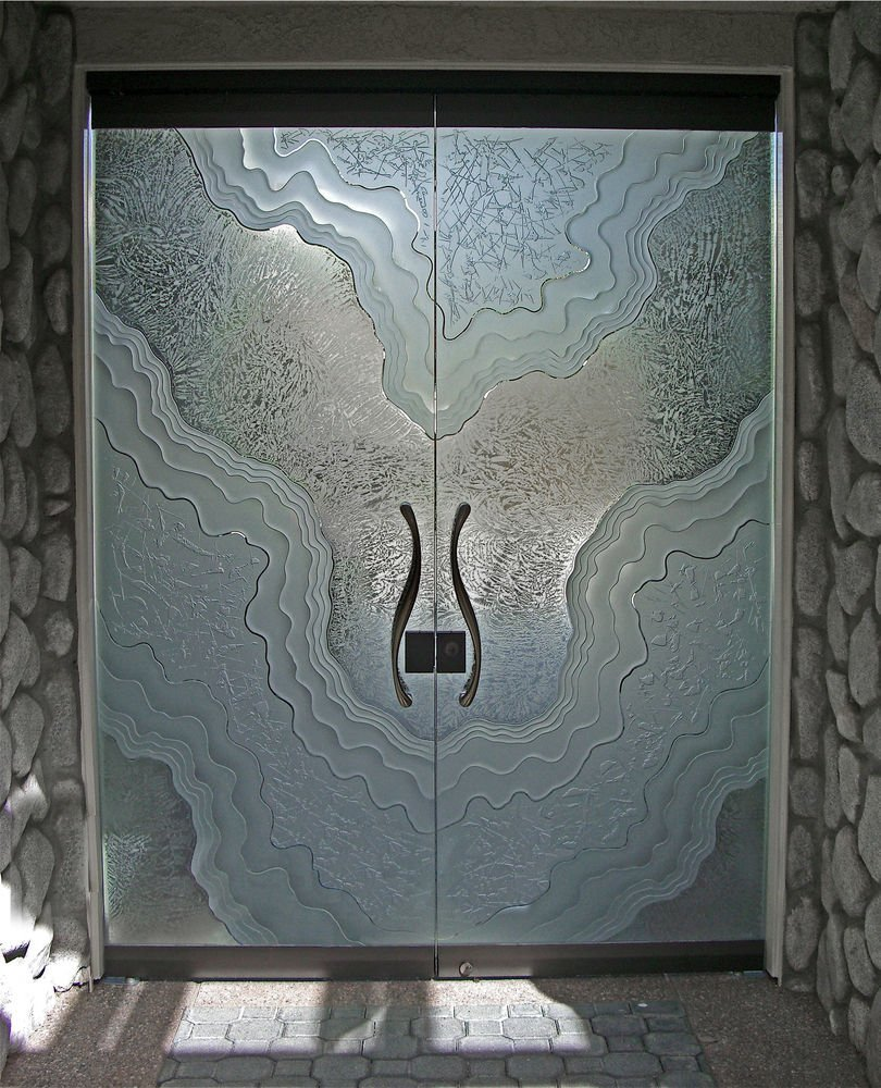 Entry Doors Frameless With Etched And Carved Glass Metamorphosis By Sans Soucie
